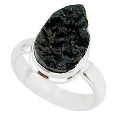 5.42cts natural black tektite 925 sterling silver ring jewelry size 6 r88700