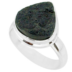 6.04cts natural black tektite 925 sterling silver ring jewelry size 6 r88713
