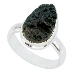 5.73cts natural black tektite 925 sterling silver ring jewelry size 6 r88715