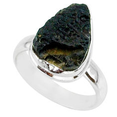 6.01cts natural black tektite 925 sterling silver ring jewelry size 6 r88724