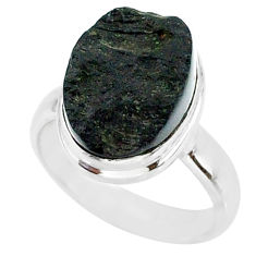 5.47cts natural black tektite 925 sterling silver ring jewelry size 6 r88725