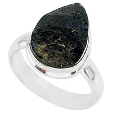 5.23cts natural black tektite 925 sterling silver ring jewelry size 6 r88742