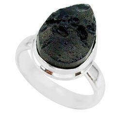 6.63cts natural black tektite 925 sterling silver ring jewelry size 6 r88750