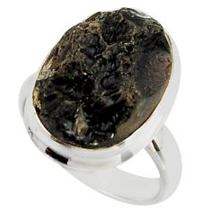 10.19cts natural black tektite 925 sterling silver ring jewelry size 7 r42449