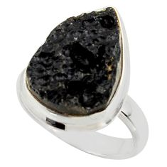 9.65cts natural black tektite 925 sterling silver ring jewelry size 7 r42458
