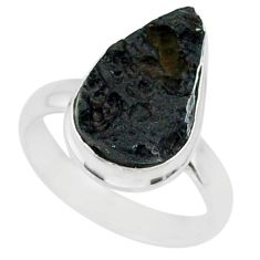 6.64cts natural black tektite 925 sterling silver ring jewelry size 7 r88669