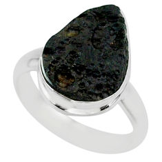 7.51cts natural black tektite 925 sterling silver ring jewelry size 7 r88675