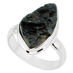 6.80cts natural black tektite 925 sterling silver ring jewelry size 7 r88682