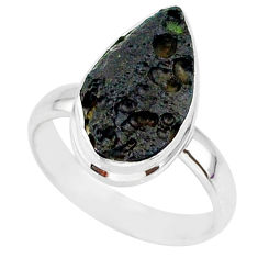 6.63cts natural black tektite 925 sterling silver ring jewelry size 7 r88687