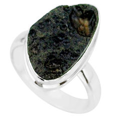 8.33cts natural black tektite 925 sterling silver ring jewelry size 7 r88705