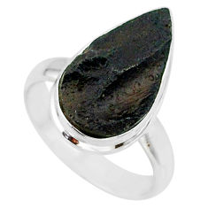 8.42cts natural black tektite 925 sterling silver ring jewelry size 7 r88707