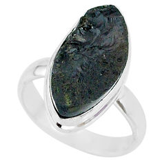 11.11cts natural black tektite 925 sterling silver ring jewelry size 7 r88717