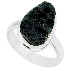 7.12cts natural black tektite 925 sterling silver ring jewelry size 7 r88720