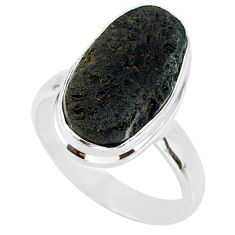 6.93cts natural black tektite 925 sterling silver ring jewelry size 7 r88721