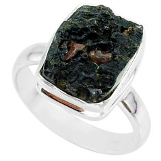 6.93cts natural black tektite 925 sterling silver ring jewelry size 7 r88727