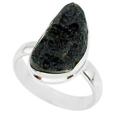 6.62cts natural black tektite 925 sterling silver ring jewelry size 7 r88738