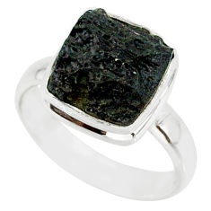 5.23cts natural black tektite 925 sterling silver ring jewelry size 7 r88740