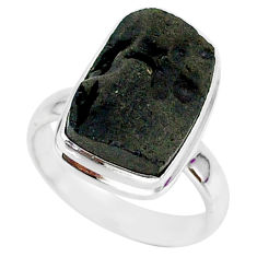 6.53cts natural black tektite 925 sterling silver ring jewelry size 7 r88747