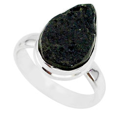 7.09cts natural black tektite 925 sterling silver ring jewelry size 7 r88752