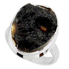 14.07cts natural black tektite 925 sterling silver ring jewelry size 8 r42441