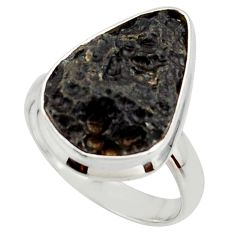13.15cts natural black tektite 925 sterling silver ring jewelry size 8 r42445