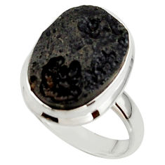 12.51cts natural black tektite 925 sterling silver ring jewelry size 8 r42446