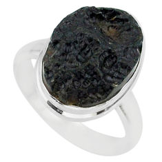 9.82cts natural black tektite 925 sterling silver ring jewelry size 8 r88662