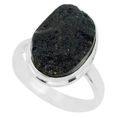 9.52cts natural black tektite 925 sterling silver ring jewelry size 8 r88671