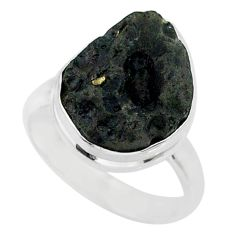 10.70cts natural black tektite 925 sterling silver ring jewelry size 8 r88680