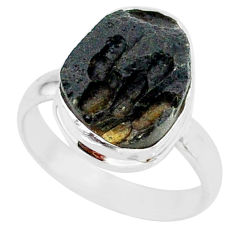 7.84cts natural black tektite 925 sterling silver ring jewelry size 8 r88689