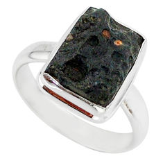 5.56cts natural black tektite 925 sterling silver ring jewelry size 8 r88697