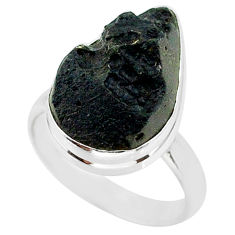10.72cts natural black tektite 925 sterling silver ring jewelry size 8 r88712