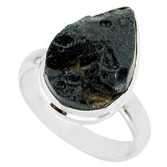 9.08cts natural black tektite 925 sterling silver ring jewelry size 8 r88714