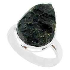 9.18cts natural black tektite 925 sterling silver ring jewelry size 8 r88734