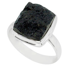7.03cts natural black tektite 925 sterling silver ring jewelry size 9 r88677