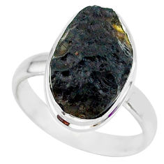 8.21cts natural black tektite 925 sterling silver ring jewelry size 9 r88683