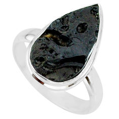 8.98cts natural black tektite 925 sterling silver ring jewelry size 9 r88708