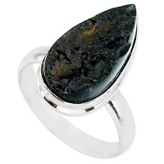 9.59cts natural black tektite 925 sterling silver ring jewelry size 9 r88710