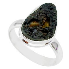 6.62cts natural black tektite 925 sterling silver ring jewelry size 9 r88733