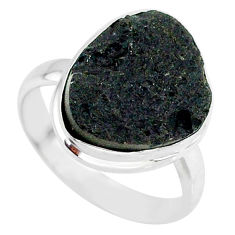 10.96cts natural black tektite 925 sterling silver ring jewelry size 9 r88748