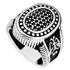 2.06cts natural black topaz round 925 sterling silver mens ring size 8.5 c11338