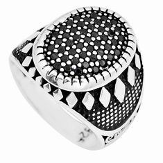 925 sterling silver black topaz round shape mens ring jewelry size 8.5 c11283