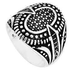 Black topaz round 925 sterling silver mens ring jewelry size 9.5 c11284