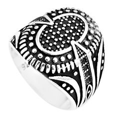 Black topaz round 925 sterling silver mens ring jewelry size 8 c11293