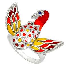 Natural black topaz enamel 925 sterling silver bird ring size 7 c16837