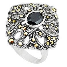 Natural black topaz marcasite 925 sterling silver ring size 8 c16106