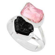 9.18cts natural black tourmaline rose quartz raw 925 silver ring size 7 t21028
