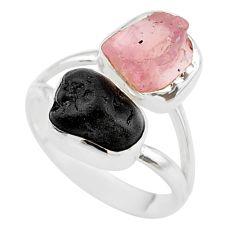 9.18cts natural black tourmaline rose quartz raw 925 silver ring size 7 t21030