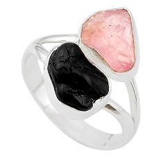 9.61cts natural black tourmaline rose quartz raw 925 silver ring size 9 t21029