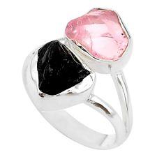 9.61cts natural black tourmaline rose quartz raw silver ring size 7 t21026